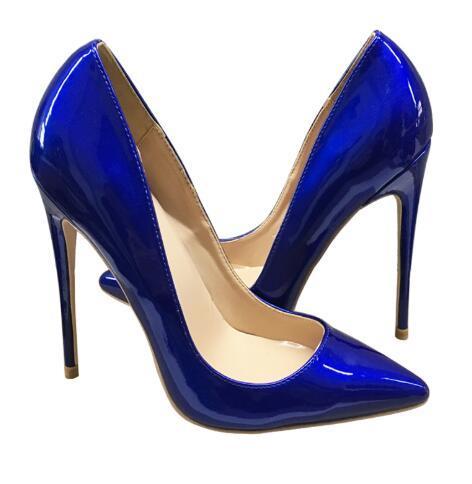 Scarpe di vendita calda donne di modo di pelle blu verniciata gli alti sexy scarpe a punta tacco a spillo Shallow bocca Pattini della signora vestito 12 10 8 cm