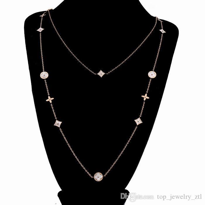 Lange Halskette Frauen Perlmutt Clover Strickjacke-Ketten-Weinlese-Frauen-Partei-Charme-Halskette Valentinstag Geschenk Schmuck 90cm