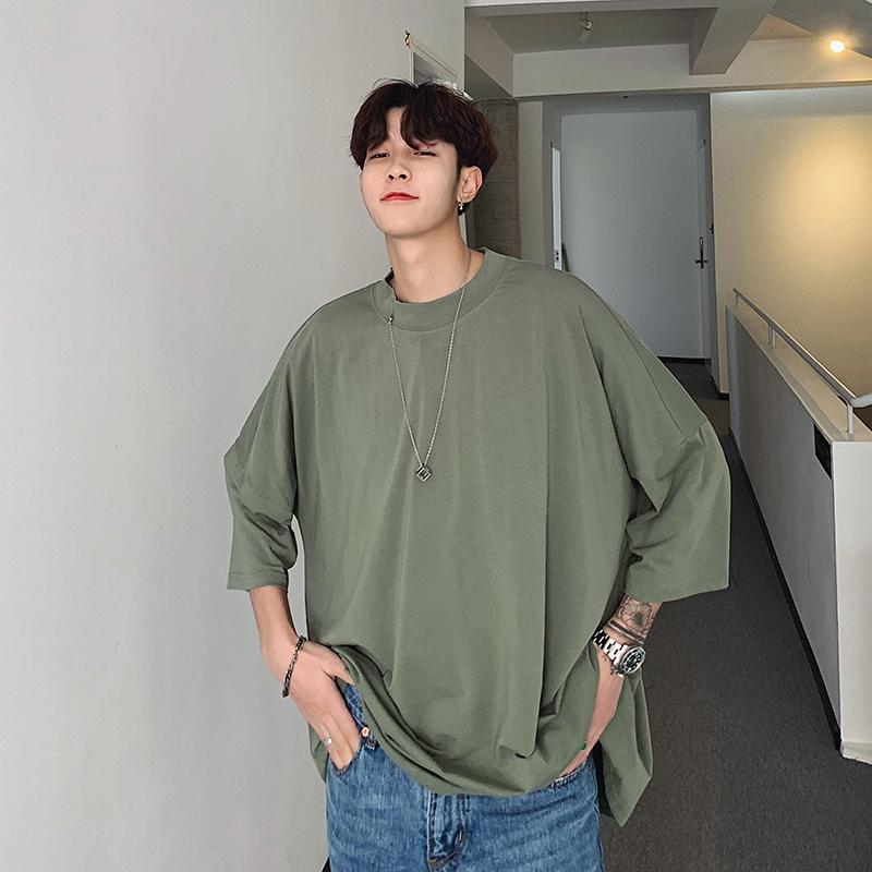 2019 Pareja de primavera y verano de la nueva tendencia de la moda japonesa cuello redondo de algodón de Hip Hop informal de manga corta camiseta de Harajuku Mejor