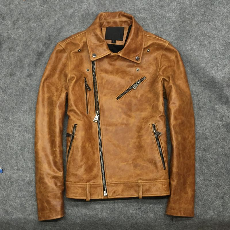 2019 정품 암소 가죽 자켓 남자 빈티지 플러스 사이즈 코트 왁스 쇠가죽 채찍으로 치다 옐로우 망 가죽 자켓 chaqueta cuero hombre KJ2276