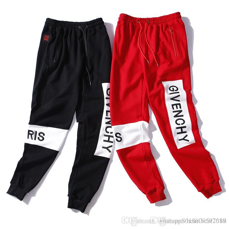2019 new hot spring and autumn men and women's letters embroidery comfortable couple casual trend beam foot pants stitching