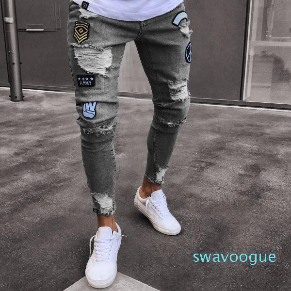 Uomini 2020 Ricamo Designer Jeans Moda Uomo sottile casuale diritto adatto stampa di alta stirata Piedi Jeans aderenti XM01