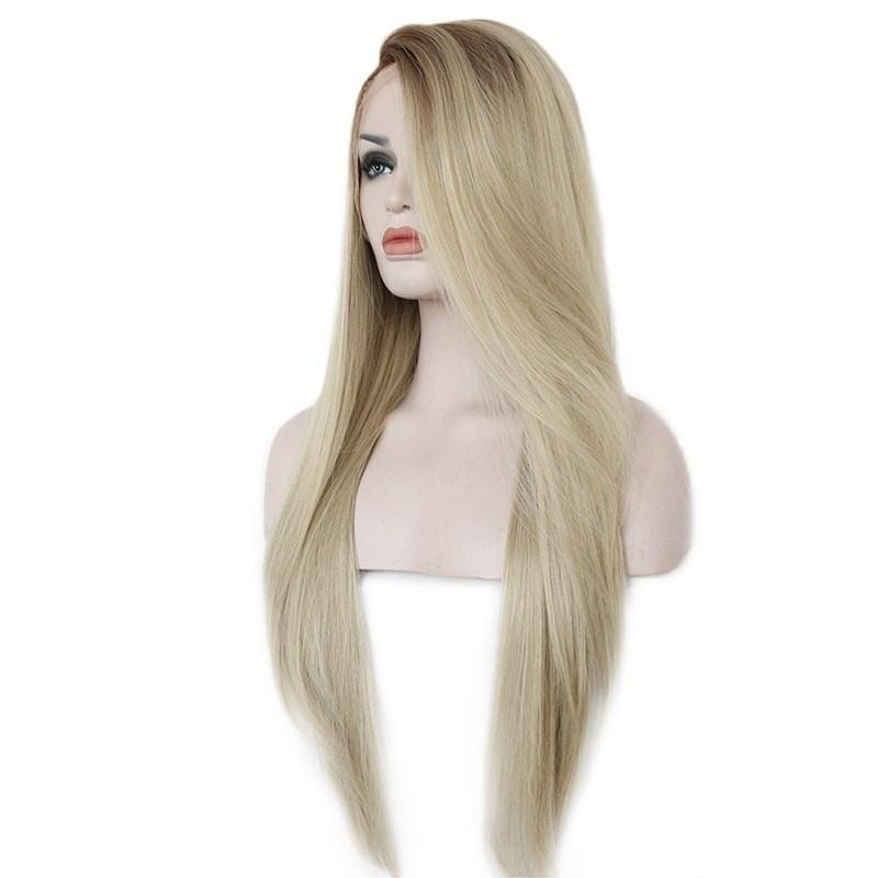 Быстрая доставка Светлые волосы длинные шелковистые прямые Ombre Светлый цвет Парик фронта шнурка Glueless Dark Root Синтетический фронта шнурка парики для женщин