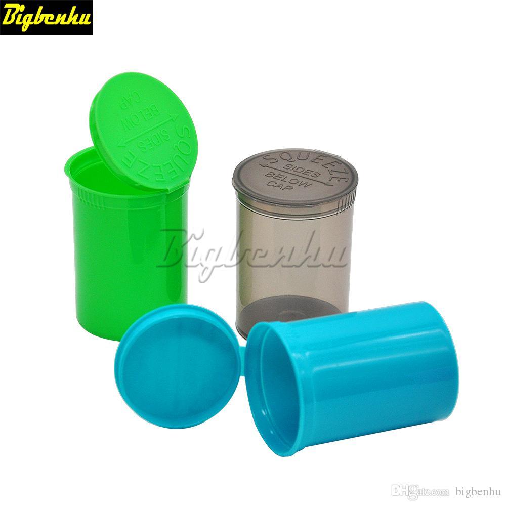 30 Dram Leere Squeeze Pop Top Bottle-Vial Herb Box Acrylplastik Stroage Stash Jar Pill Bottle-Fall-Kasten Herb Behälter Kunststoff Zinn