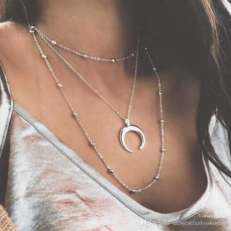 Crescente Chifre Moda Estilo coreano Multilayer Ox lua pingente colares para as mulheres de prata corrente de cobre Beads clavícula jóias YN53