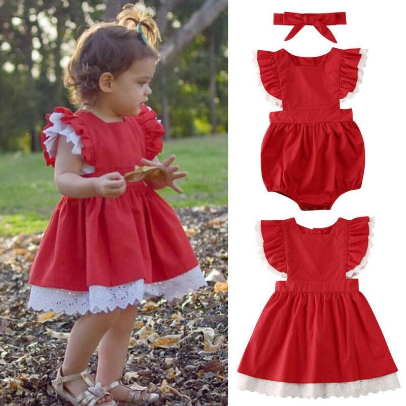 Bebek Çocuk Bebek Kız Giyim Kardeş Eşleştirme Noel Bodysuit Elbise Kıyafetler Kısa Dantel Kol Düğmesi Kırmızı Suit ayarlar