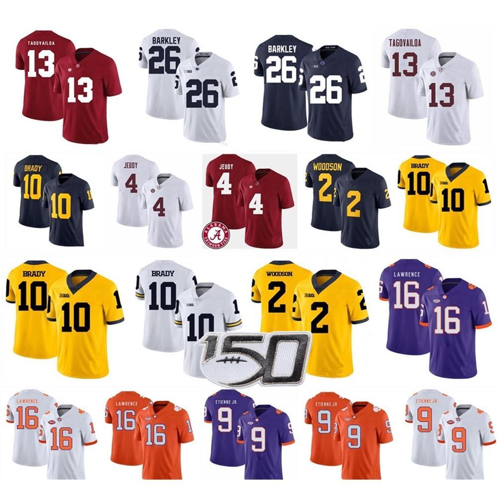 울버린 10 Tom Brady 26 Saquon Barkley 13 Tua Tagovailoa Clemson Tigers 16 Trevor Lawrence 9 Travis Etienne Jr. College Football Jerseys