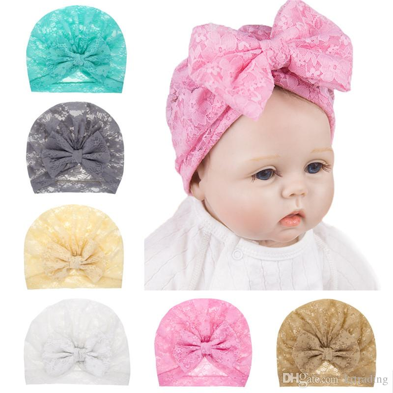 Baby Girls Lace Bow Turban Toddlers handmade flower lace hat cute solid color beanie 6 colors 19x16cm infants fashion headwear
