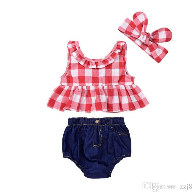 3pcs Outfit Baby Girl Clothes Red White Plaid Blouse Jeans Short Pants and Headbands Summer Suit for Newborn Baby Girls