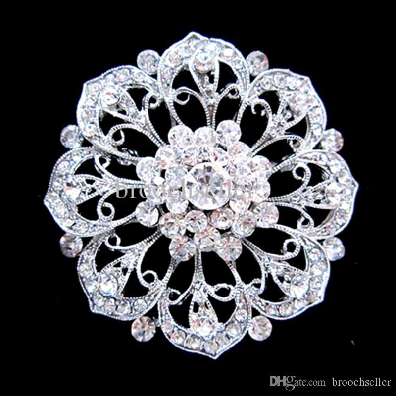 Cor de prata strass cristal nupcial e casamento Boutique broche Flowe