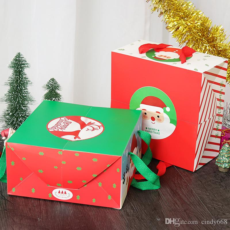 Christmas Cake Box Cartoon Santa Claus Packaging Party Favor Square Dessert Bags Xmas Decorations Gift Boxes With Handle Red Gre