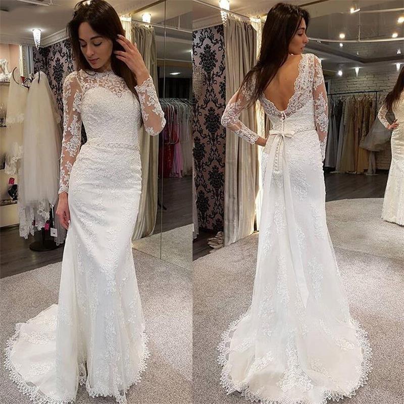 2020 로맨틱 레이스 인어 웨딩 드레스 보석 목 새해 파란색 벨트 섹시한 등이없는 웨딩 드레스 맞춤 제작