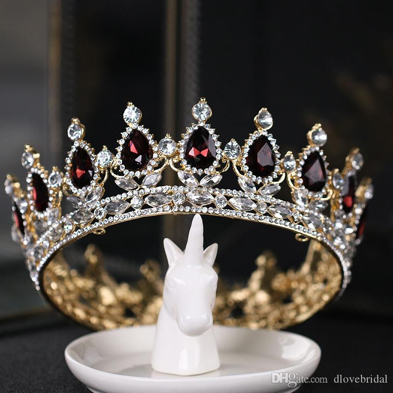 New Pageant Full Circle Tiara Dark Red Crystal Rhinestones King Queen Crown Wedding Bridal Crowns Costume Party Art Deco Baroque Headpieces