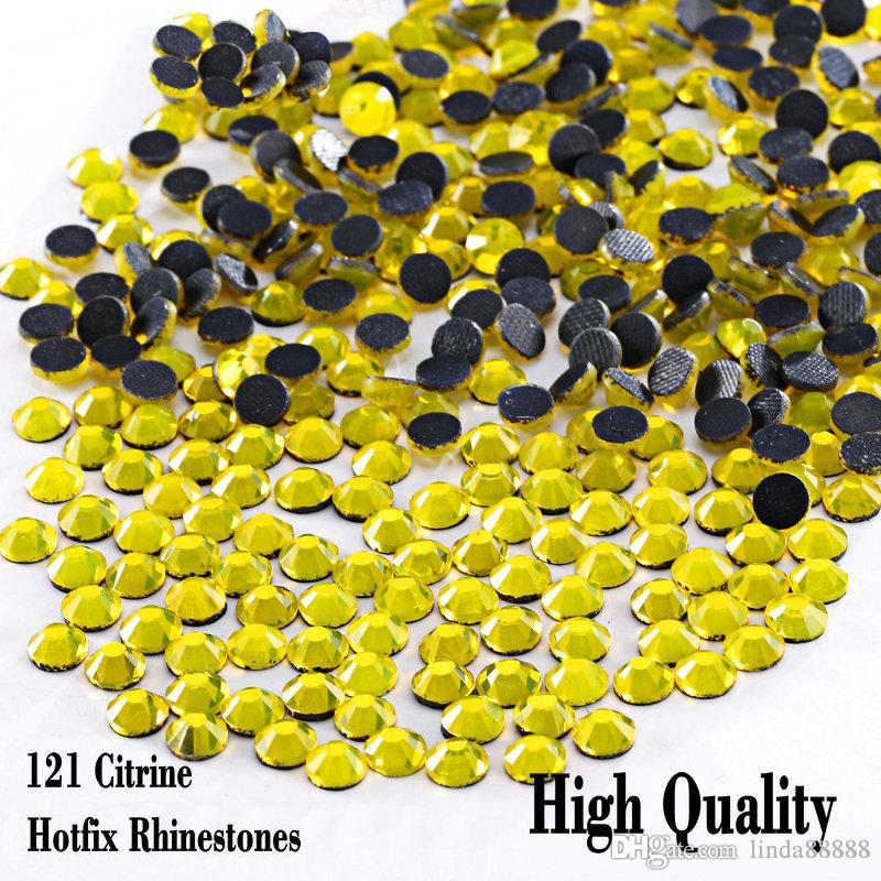 1440pcs/bag Hotfix Rhinetones Flatback Good Quality Iron On Hot Fix Rhinestones Citrine For SS6 SS10 SS16 SS20 SS30
