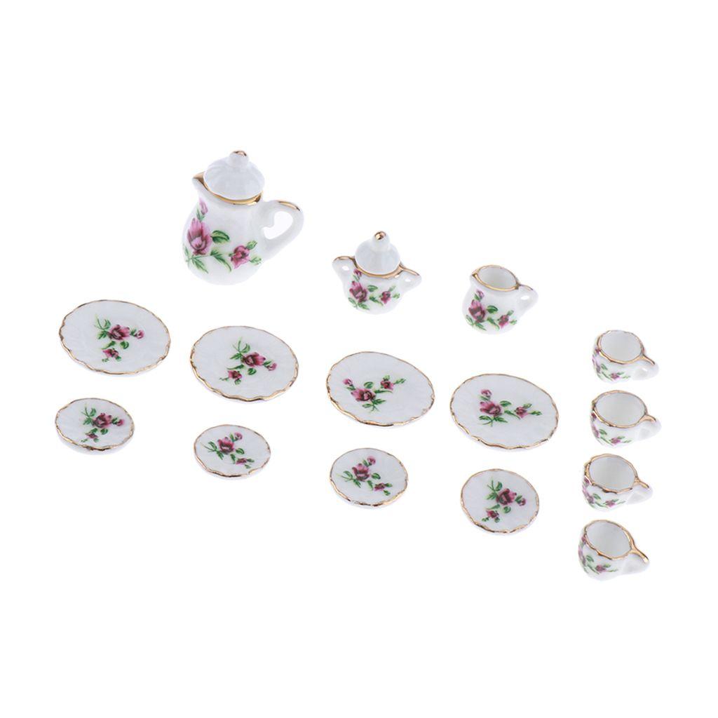 Ware Porselen Çay Seti Bulaşık Kupa Levha 1/12 Dollhouse Minyatür Yemek 15pcs