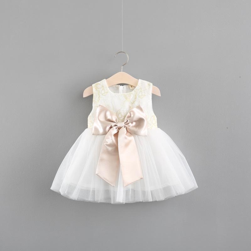 Baby Girls Dress Girls Princess Birthday Dress Ball Gown Children Mesh Dresses Kids Clothes with Big Bow Pink