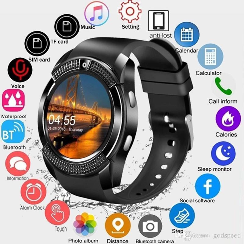 V8 Smartwatch Bluetooth Akıllı İzle 0.3 M Kamera Sim ve TF Kart İzle Android Sistemi Smartphone Için Kutusunda