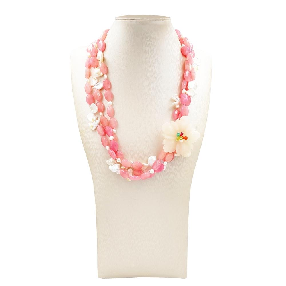 LiiJi Unique Dyed Pink Jades with Baroque Pearl Yellow Jades Flower 3 Rows Necklace with Shell Toggle Clasp 54cm