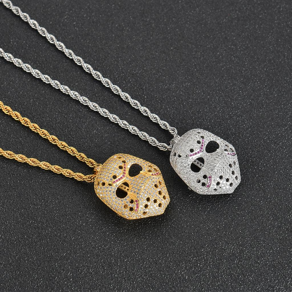 Hip hop mask pendant necklace Stainless steel chain Hip hop mask jewelry necklace wholesale for men women Hiphop zircon jewelry