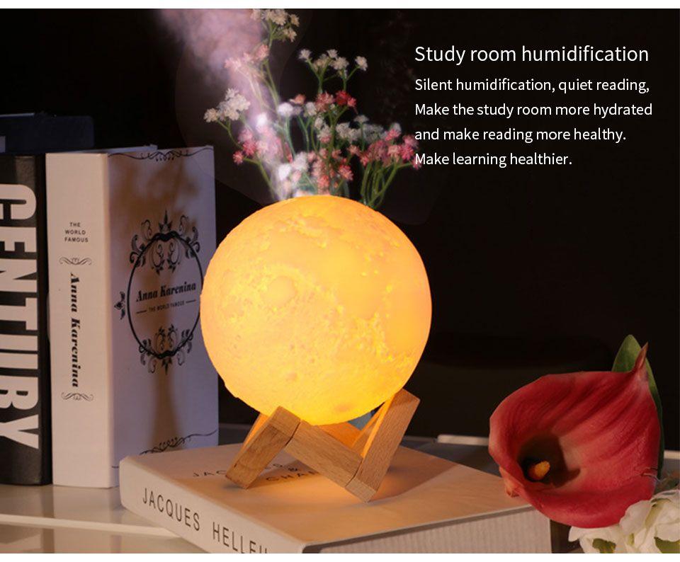 Meilleur rechargeable air Humidificateur 3D Lune Lampe arôme Huile Essentielle Diffuseur