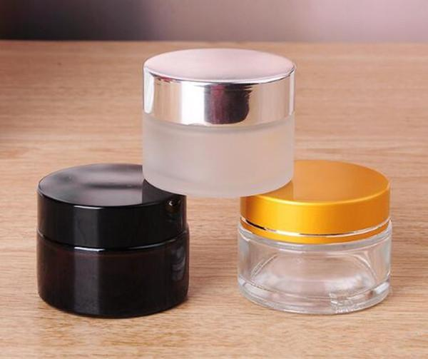 vendedora caliente ámbar claro helado frasco contenedor de vidrio tarro 20g con tapa de tapa de oro negro plata para cosmético crema aceite de cera personalizado