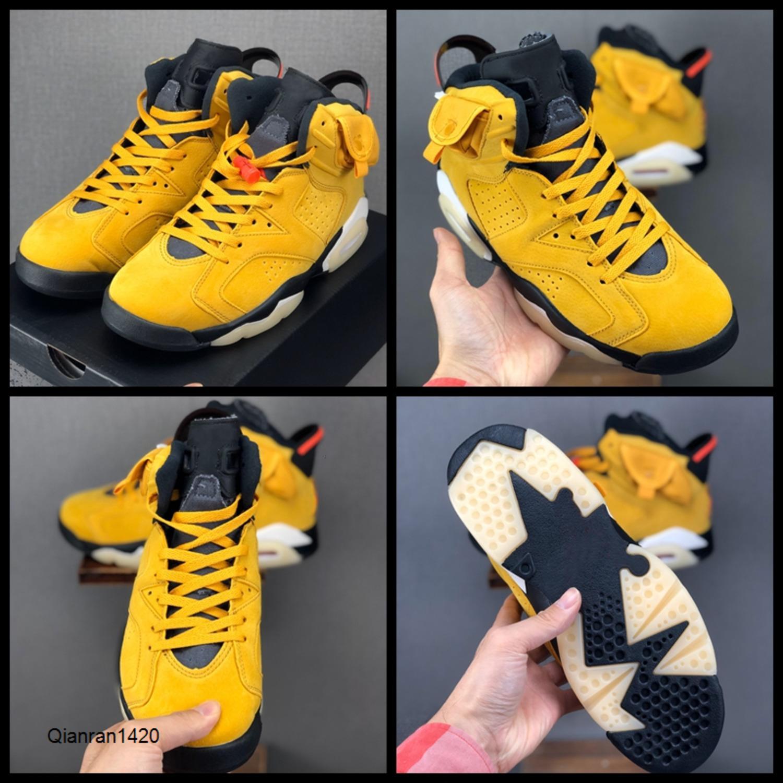 Travis Scotts x 6 zapatos de baloncesto del Mens trigo 3M TS cestas Amarillo Verde del ejército zapatillas Tinker Cactus Jack Zapatos 6s Entrenadores des chaussures