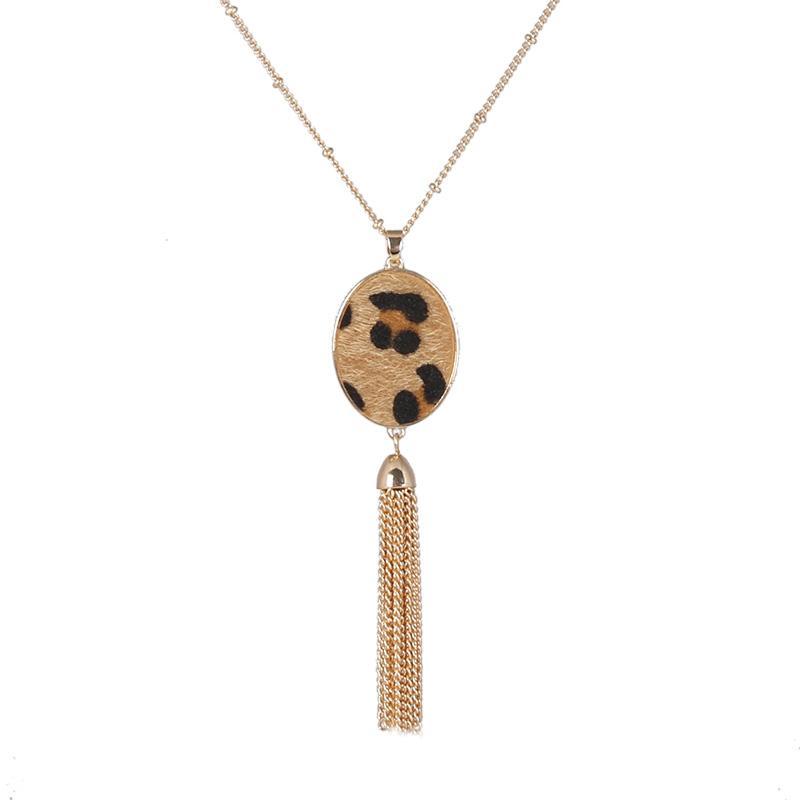 Leopard Oval Shaped Metal Tassel Pendant Necklace for Women Costume Jewelry