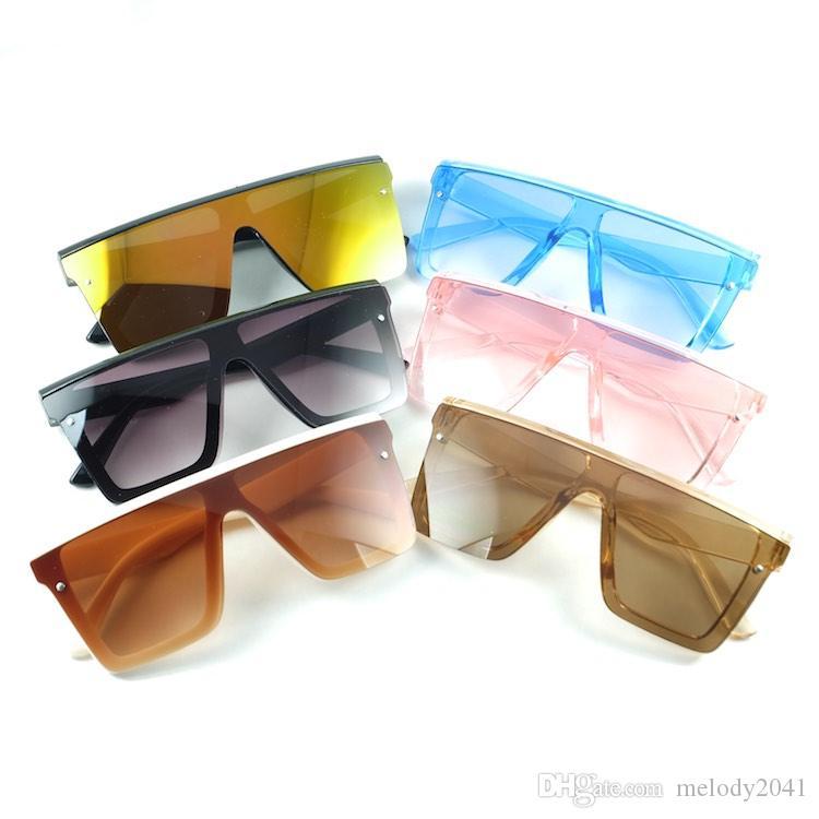 باردة جديدة النظارات الشمسية الكبيرة للعدسات الاطفال حجم ساحة الإطار حملق مصمم أزياء الأطفال نظارات شمسية مرآة 6 ألوان بالجملة