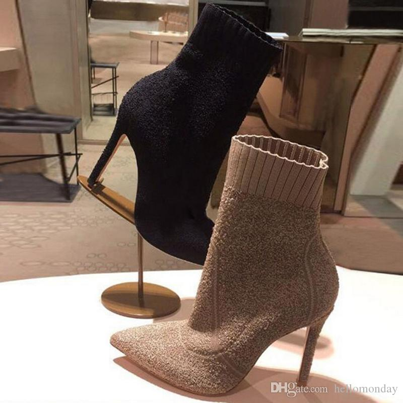 Stivaletti da donna con punta a punta alla caviglia Stivali tacco alto 6-8CM Stivaletti in lana a calza Stivali alti in maglia moda donna Tacco 34-40 Nero Marrone