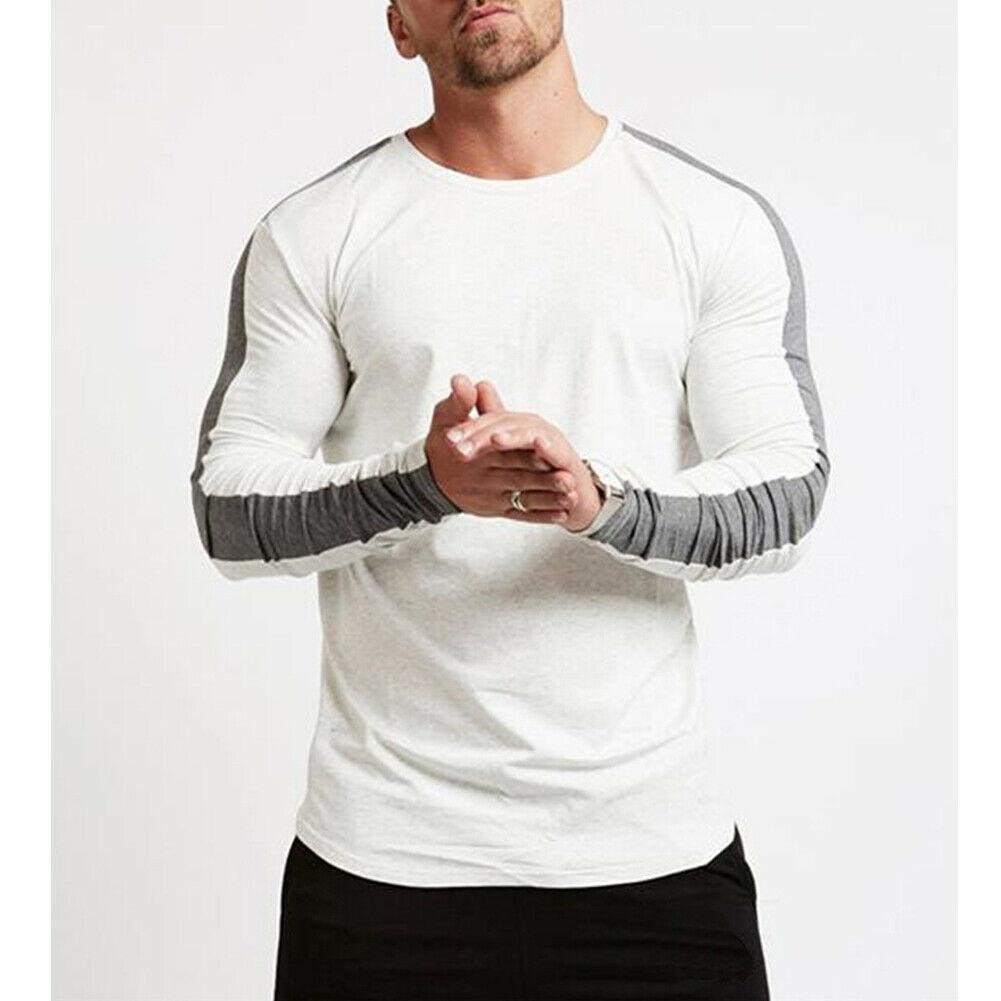 2019 Fit Tendance Mode Hommes Gym manches longues T-shirt décontracté O cou Hauts Bodybuilding Muscle Automne pré-automne T-shirts simples solides
