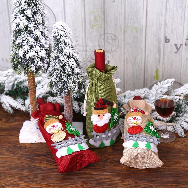 3 colores cubiertas de tela botella de vino tinto Moda Champagne Set Parte festiva de Navidad decoración interior de restaurante