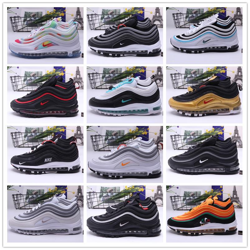 Großhandel AIR MAX 97 Männer und Frauen Endlagendämpfung Schuhe max97 Mode 97s Sporttrainer Turnschuhe Breathable flache Schuhe EUR36-45
