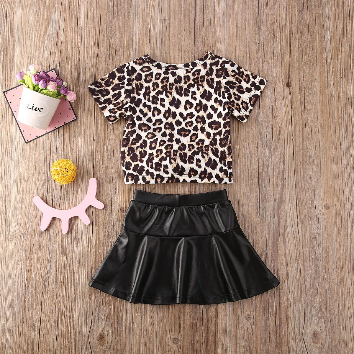 2020 Summer Toddler Kids Baby Girls Leopard Short Sleeve T-shirt Tops+ Leather Skirts 2Pcs Outfits Clothes 1-5T