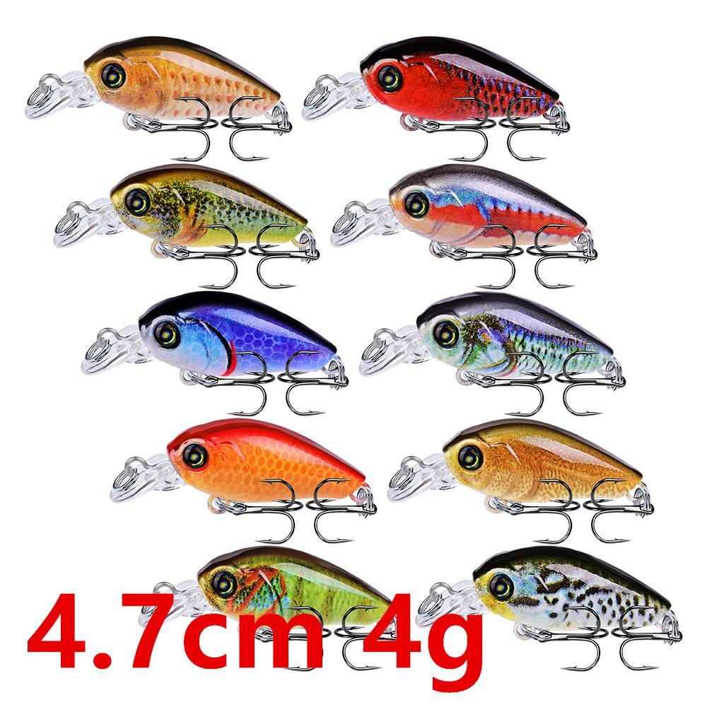 10 colori 4.7cm 4g Crank duri esche di plastica esche da pesca Ganci 10 # Hook Pesca Pesca Tackle Accessori WL-25