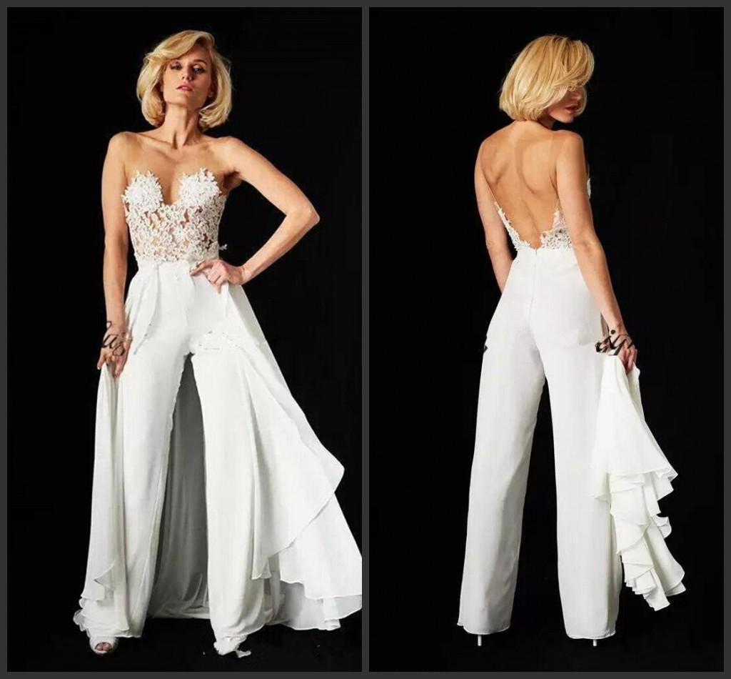 Woman Jumpsuit Sheer Mesh Top Chiffon Evening Dresses 2019 New Lace Applique Floor Length Backless Formal Party Gowns With Over Skirts