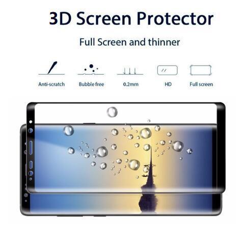 3D-Curved-Volldeckung Ausgeglichenes Glas-Schirm-Schutz für Samsung S20 Ultra-S10 Plus-5G S9 S7 Anmerkung 10 8 Fingerabdruck entsperren verfügbar
