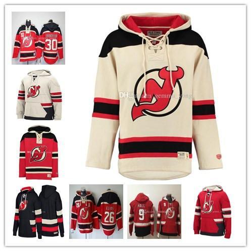 Hombres personalizados New Jersey Devils Hoodie 13 Nico Hischier 9 Taylor Hall 35 Cory Schneider 30 Martin Brodeur 6 Andy Greene Sudadera cosida