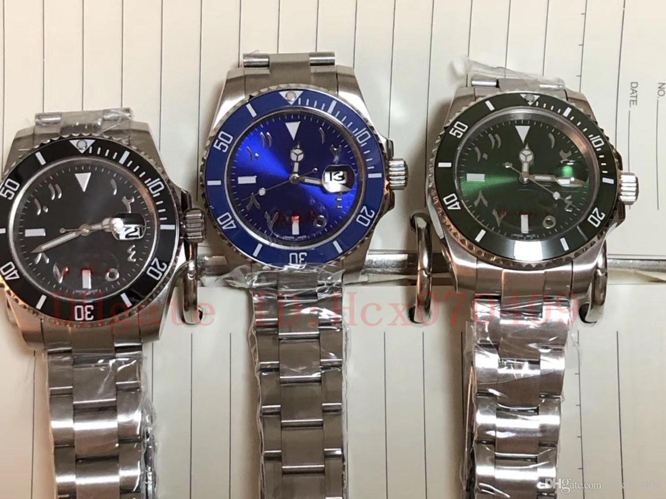 3 Farbe Qualitäts-Männer 40mm arabische Ziffer Index Keramik Lünette Stahl Asien Bewegung Sport-Automatic Herren-Uhr