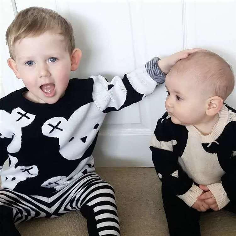 New Children's Top Clothes Child 100% Cotton Printing black white bear Sweaters High Quality Kids Outerwear Baby Girl Pullover Jumper coat
