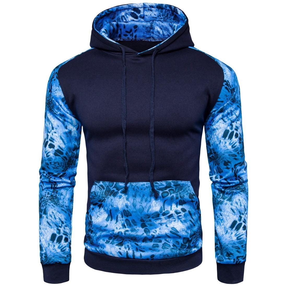 Nouveau Hoodie Leopard Bleu Hommes Nouveauté Patchwork Imprimé manches longues manteau Angleterre style Hoodies Casual Pour Automne Printemps