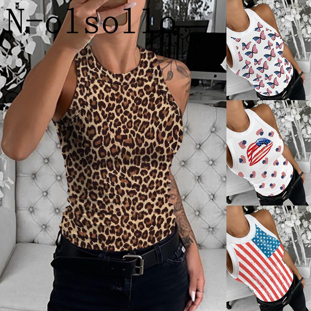 wholesale Leopard/Butterfly/Stars Flag/Lips 3D Printed Fitness Tops Sleeveless Round Neck Sexy Slimming Tank Vests Drop Shipping