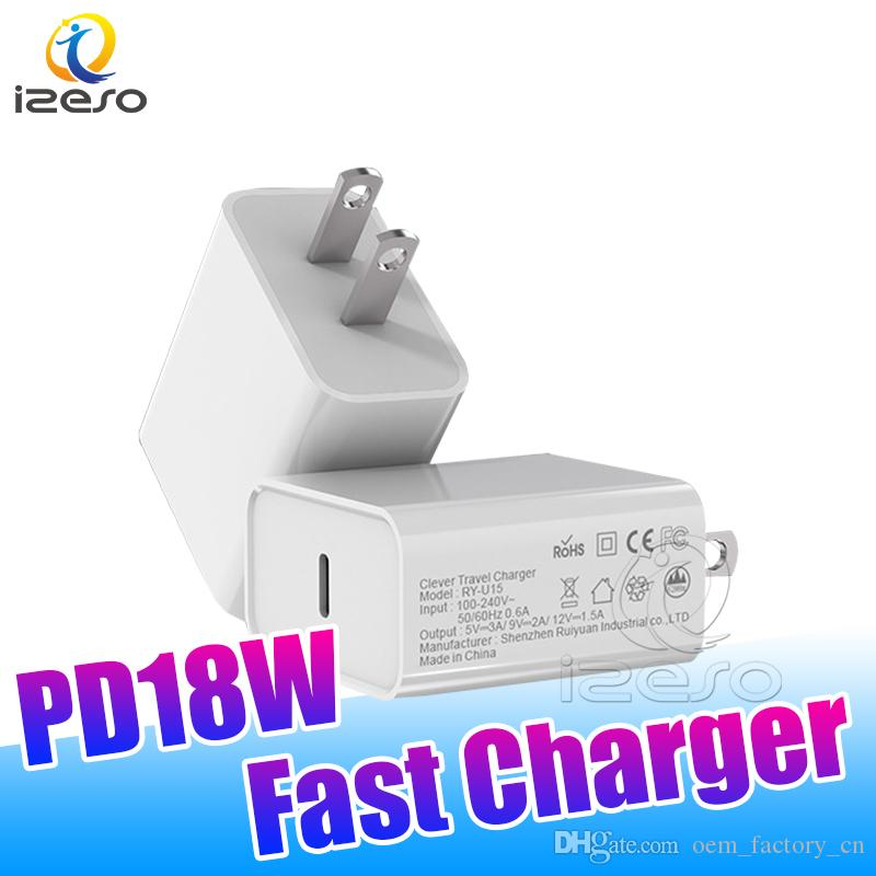 USB Wall Charger 18W PD Power Quick Charger Adapter Type C US Plug Fast Charging for Samsung S20 iPhone 11 Pro Max izeso