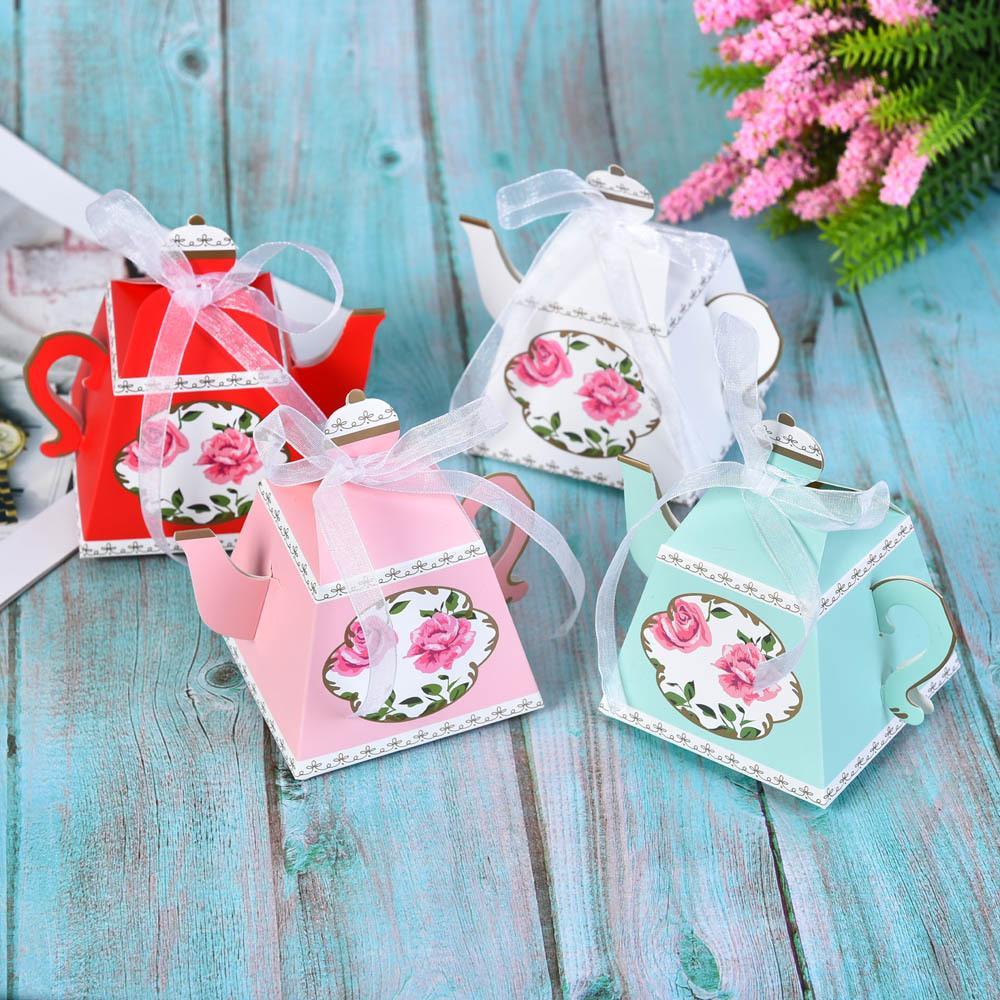 Al por mayor de 50 PCS partido real del boda del partido de té de la tarde caja de la tetera de caramelo Galletas caja de regalo favorece las cajas