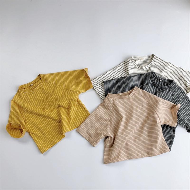 أزياء HX الكورية INS القطن الخالص الصيف الجودة المشارب بلايز الصلبة للأطفال بنين قمم للجنسين للأطفال بلايز