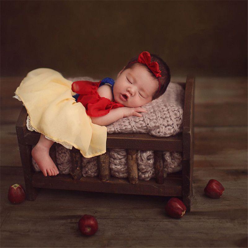 Baby Girl Props classique de conte de fées princesse jupe main Puffy manches Bow Vêtements Props tenue pour photo Infant Girls Shoot