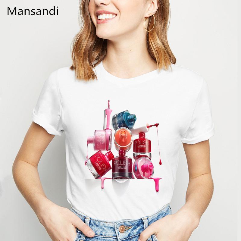 novelty design Nail Polish tshirt women korean style clothes 2020 vogue white t shirt camiseta mujer cute casual girl tee shirt