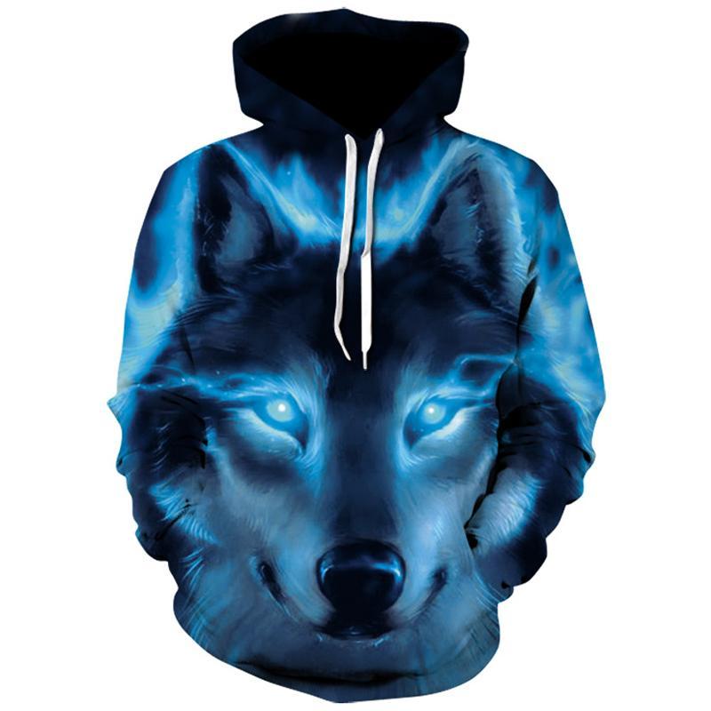 Mais novo Engraçado Lobo mens hoodies 3D Impressão Camisola homem marca Harajuku Casaco Com Capuz Anime Treino Casaco de Hip Hop Jaqueta Com Capuz Pullover