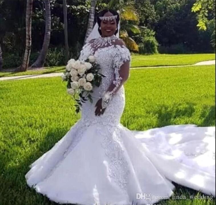 Nova Chegada Nigeriano Africano Mangas Compridas Vestido De Noiva Sereia Apliques de Jardim Da Igreja Do País Da Noiva Vestido De Noiva Custom Made Plus Size