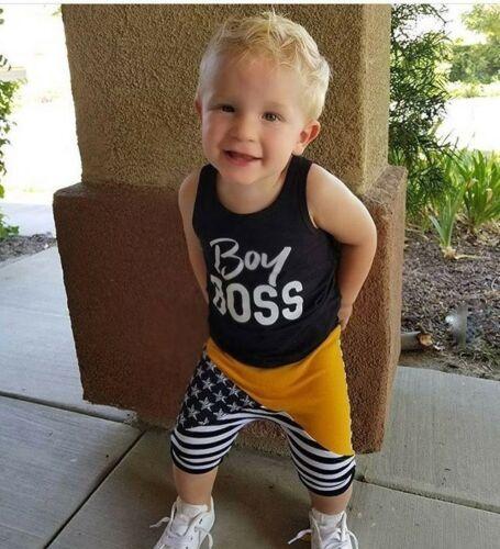 2 pièces Boy Tanks grand patron et Stripe Shorts Set pour enfant en bas âge et bébé garçon