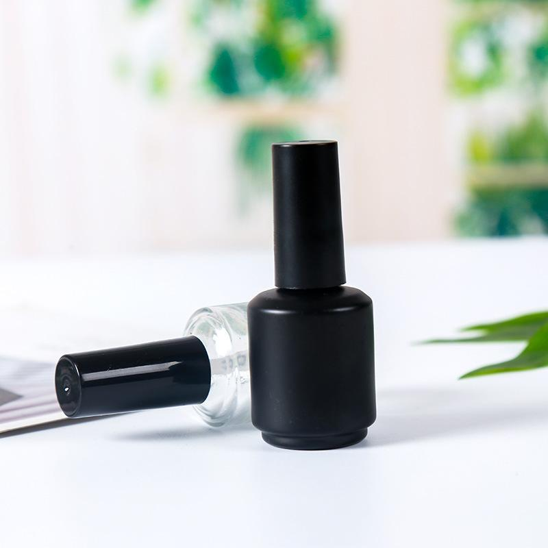 15ml Frost Black Empty Nail Polish Bottles Vials Containers Sample Bottles with Brush Cap for Nail Art
